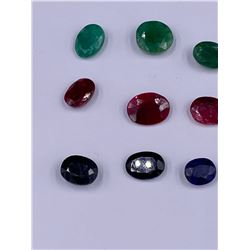 POLISHED AND FACETED ROUGH GEMSTONES; RUBY 22.40CT, SAPPHIRE 24.05CT, EMERALD 22.00CT