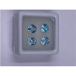 EXCEPTIONAL BLUE TOPAZ 4PCS./4.25CT 6.00MM, COLOR BABY BLUE, BRILLIANT ROUND CUT, CLARITY IF-VVS,