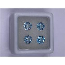 SPARKLING BLUE TOPAZ 4PCS/3.85CT, 6.00MM, COLOR BABY BLUE, BRILLIANT ROUND CUT, CLARITY IF-VVS,