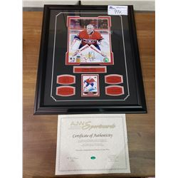 FRAMED & SIGNED WITH COA PHOTO OF CAREY PRICE WITH UPPER DECK HOCKEY CARD