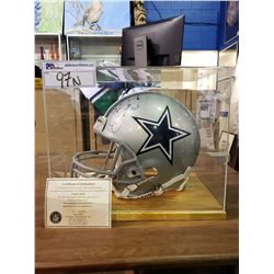 SIGNED & IN CASE WITH COA EMMITT SMITH OF THE DALLAS COWBOYS full size NFL HELMET