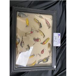 DISPLAY CASE OF ASSORTED FISHING TACKLE