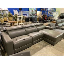 BROWN ELECTRIC RECLINING SECTIONAL LEATHER SOFA