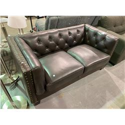 BROWN STUDDED/BUTTON BACK FAUX LEATHER LOVE SEAT