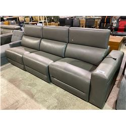 BROWN PARTIAL ELECTRIC RECLINING LEATHER SOFA