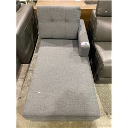 GREY CHAISE LOUNGE PARTIAL SECTIONAL SOFA