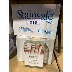 2 NEW BOXES OF STAINSAFE WOOD CARE PROGRAM CLEANER APPROX. 24 BOXES