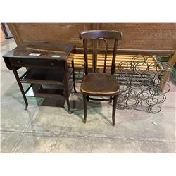 FOLDING SIDE TABLE WITH DAMAGE, 2 CHAIR, & WINE RACK