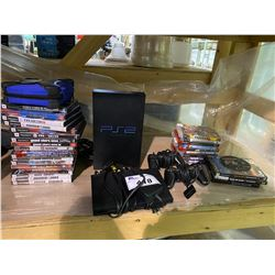 PLAYSTATION 2 CONSOLE WITH 2 CONTROLLERS & ASSORTED GAMES