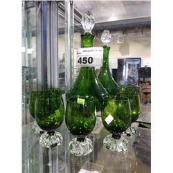 6 GREEN GLASSES & DECANTER (SET DEC ITEMS)