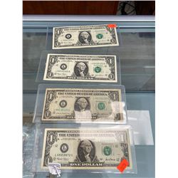 4 AMERICAN $1 BILLS