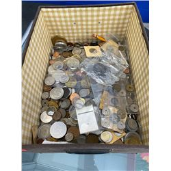 LARGE BOX OF FOREIGN AND DOMESTIC COINS