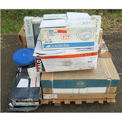 Contents of Pallet: Glacier Bay Sink, Electrical Outlets, Laminate Flooring, etc