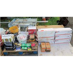 Contents of Pallet:  Subfloor & Deck Adhesive, Quikrete, Fasteners, Hardware, etc