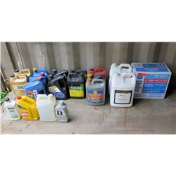 Multiple Containers of Engine Oil, Antifreeze Coolant, Diesel Exhaust Fluid, etc