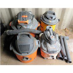 Qty 4 Shop Wet/Dry Vacuums: Ridgid, Echo, etc