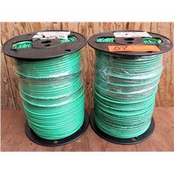 Qty 2 Spools Green Wire THHN 10 Str Cu Gn 500Sp