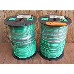 Qty 2 Spools Green Wire THHN 10 Str Cu Gn 500SpC