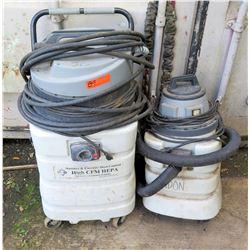 Qty 2 Masonry & Concrete Dust Control High CFM Hepa Dc-3-Motor Filter Extractors