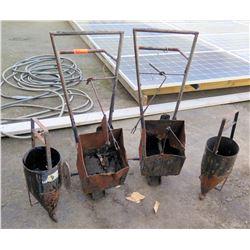 Qty 4 Asphalt Hot Pots on Wheels Misc Size