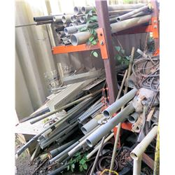 Multiple Metal & PVC Pipe, Wood Pole Extensions, Shelf Parts, Hoses, Fittings, et