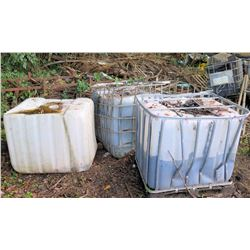Qty 6 Plastic Water Transport Containers (some in Metal Cage)