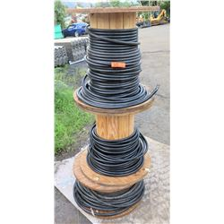 Qty 3 Wooden Spools Southwire Black SIMpull TWN75 600 Cable