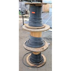 Qty 3 Wooden Spools Southwire Black SIMpull THHN Cable