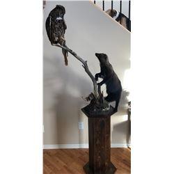Fight or Flight - Fisher & Great Horned Owl Pedestal Mount