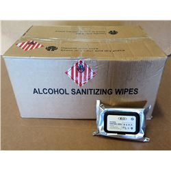 Qty 1 Box (50 Pkg) KLD 75% Alcohol Sanitizing Wipes (60 Wipes/Pkg)