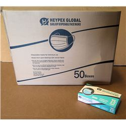 Qty 1 Box (50 Pkg) Heypex Global Disposable Face Masks (25 Masks/Pkg)