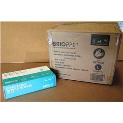 Qty 1 Box (10 Pkg) Brioppe Disposable Nitrile Exam Gloves Sz L (100 Gloves/Pkg)