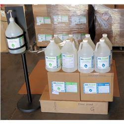 Pump Dispenser Floor Stand & 8 Gal Bottles Biologique Sanitizer 80%Liq/70%Gel