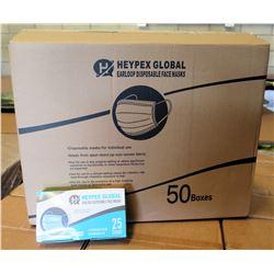 Qty 1 Box (50 Pkg) Heypex Global Disposable Face Masks (25 Masks/Pkg)