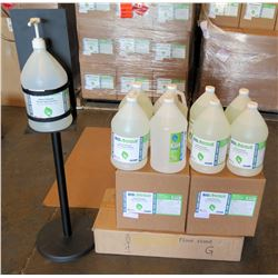 Pump Dispenser Floor Stand & 8 Gal Bottles Biologique Sanitizer 70%Gel