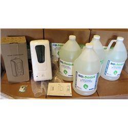 Touchless Auto Dispenser w/ Mount & 4 Gal Bottles Sanitizer 70%Gel