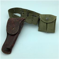 1911 Leather Holster with Pistol Web Belt & Mag Pouch