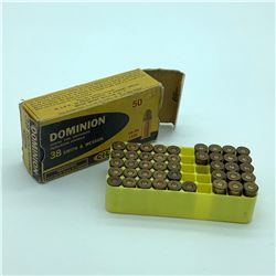 Dominion 38 S & W 145 Grain ammunition, 17 Rounds and 26 Cases