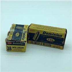 Dominion 38 S & W ammunition, 64 Rounds and .380 Auto ammunition 20 Rounds