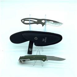 "1 Slim Ranger, 3"" Folding Blade, Green, 1 Paklite Skinner, 3.5"" Plum Brown"