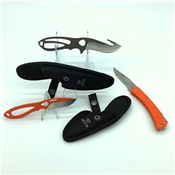 "1 Slim Hunter, 3.5"" Folding Orange, 2 Paklite Skinners, 2.75"", Orange and 3.5"" Plum Brown"