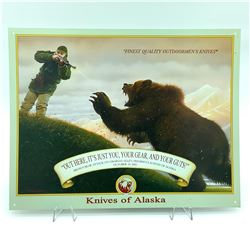 """'Knives of Alaska"""" Tin Sign, 12.5"""" X 16"""", Signed by Charles Allen"""