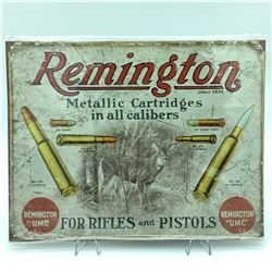 """Remington Metallic Cartridges Tin Sign, 12.5"""" X 16"""""""