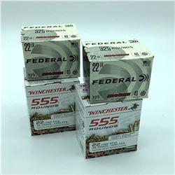 22LR Ammunition, 1,760 Rounds  - Winchester & Federal