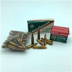 Assorted 7.62 x 39 Ammunition, 79 Rounds - Barnaul, Norinco & Assorted bag