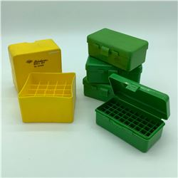4 Green MTM 38/357 Cartridge Cases & Dickson Yellow 20ga Shell Box