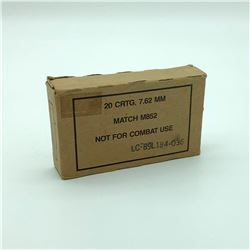 7.62mm Match M852 Ammunition, 20 Rounds