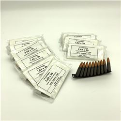 Surplus 7.62 X 39 On Stripper Clips, 11 Pkgs X 10 Rounds, 110 Rounds total