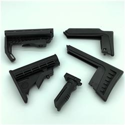 2 AR-15 Butt Stocks, Folding Fore Grip & 2 Ruger Stock Risers