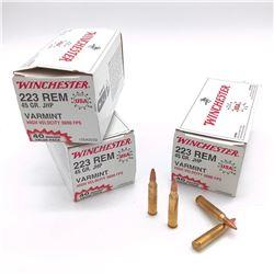 Winchester Varmint HV .223 Rem, 45 Grain Jacketed Hollow Point Ammunition, 122 Rounds